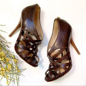 L.A.M.B Tammy Woven Stiletto Pumps Brown size 7